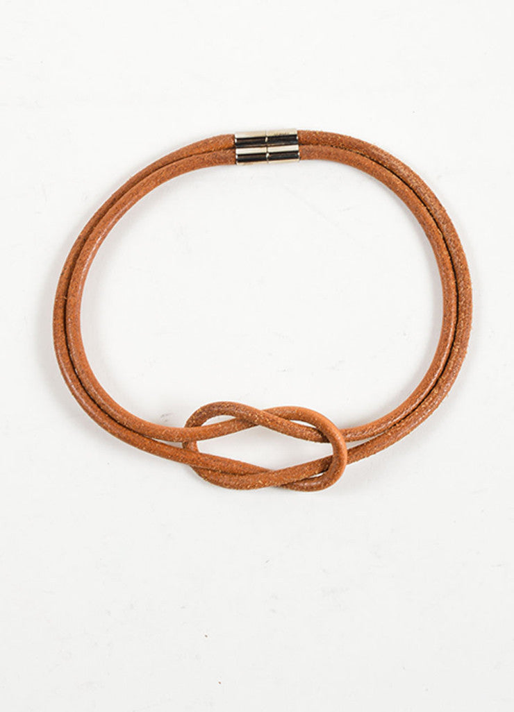 Hermes Brown Leather Double Strand Knot Choker Necklace Frontview