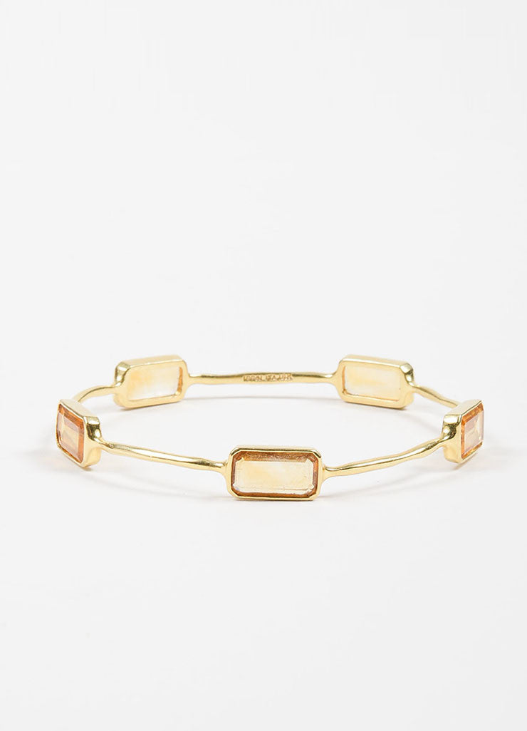 "18K Yellow Gold and Citrine 5 Stone Ippolita ""Rock Candy"" Bangle Bracelet Frontview"
