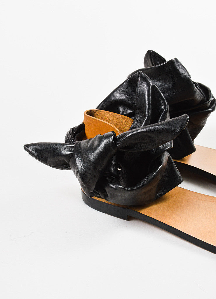 "IRO Black and Tan Leather Wrap Ankle Strap ""Megg"" Sandals Detail"