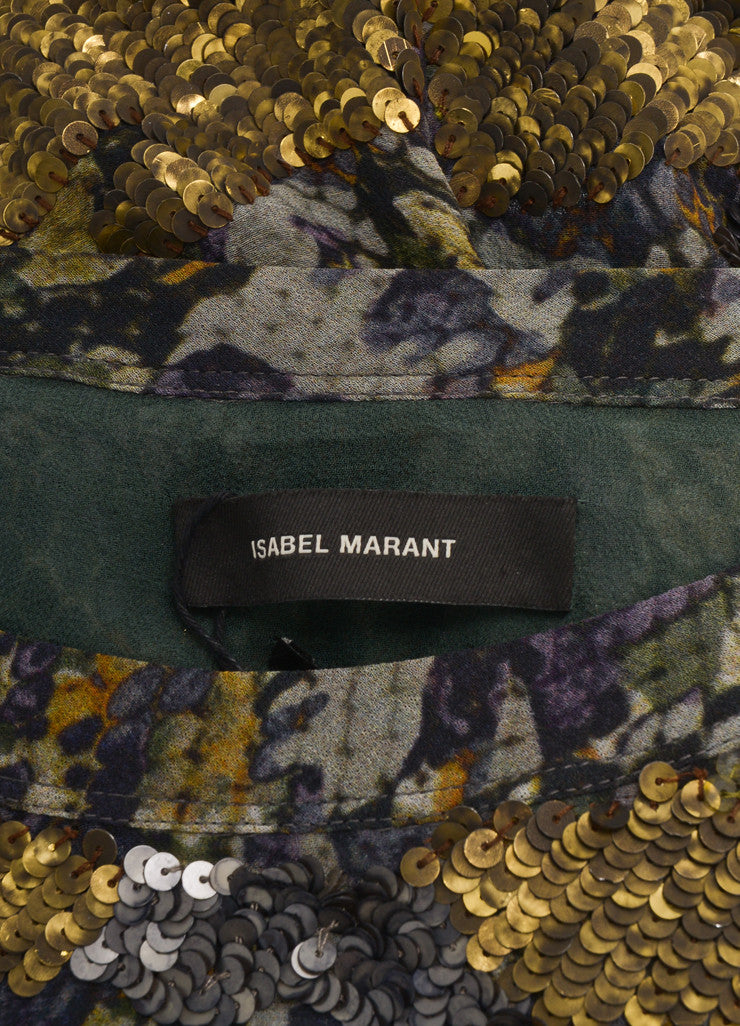 "Isabel Marant New With Tags Green and Multicolor Silk Sequin Long Sleeve ""Edilon"" Tunic Top Brand"