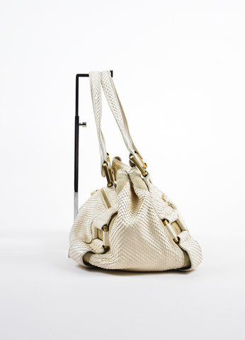 "Beige Jimmy Choo Python Suede ""Maddy"" Shoulder Tote Bag Side"