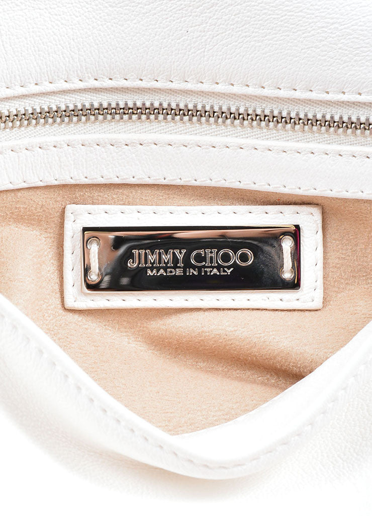 Jimmy Choo White Leather Silver Tone Chain Charm Foldover Shoulder Bag Brand