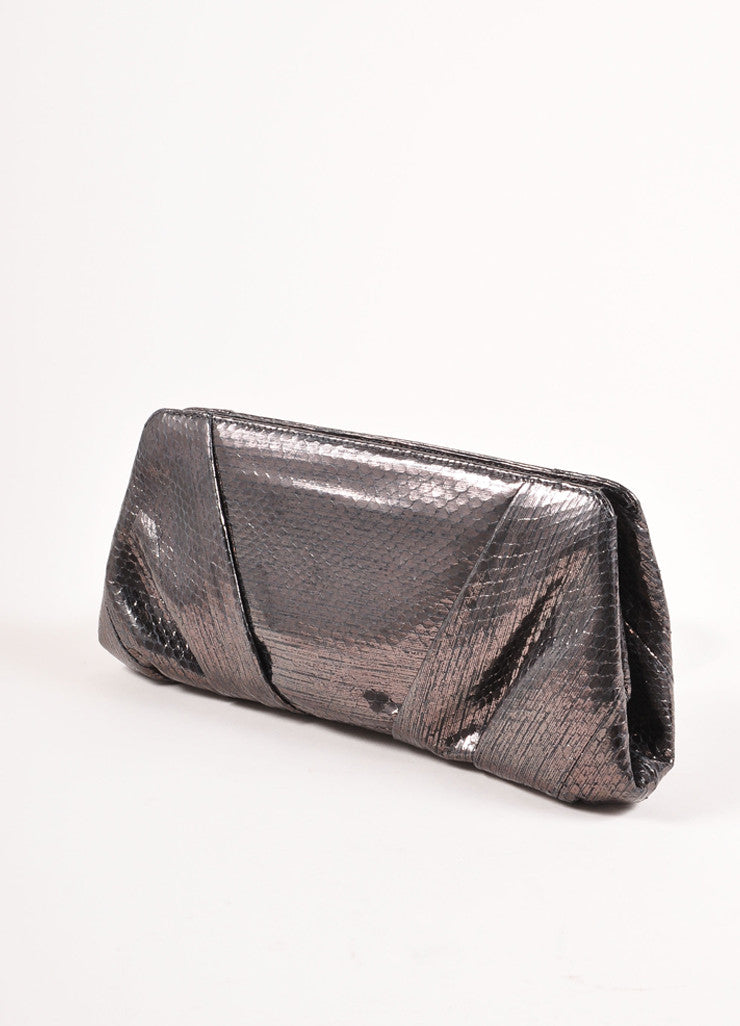 "Judith Leiber Smoke Grey Snakeskin Leather Gathered ""Reem Ayers"" Clutch Bag Sideview"