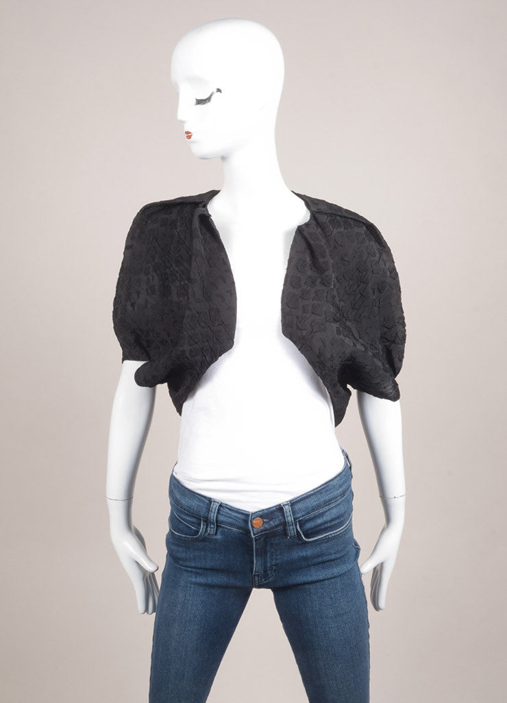Lanvin Black Silk Textured Cropped Shrug Frontview