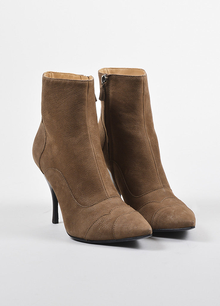 Lanvin Brown Leather Pointed Toe Heeled Booties  Frontview