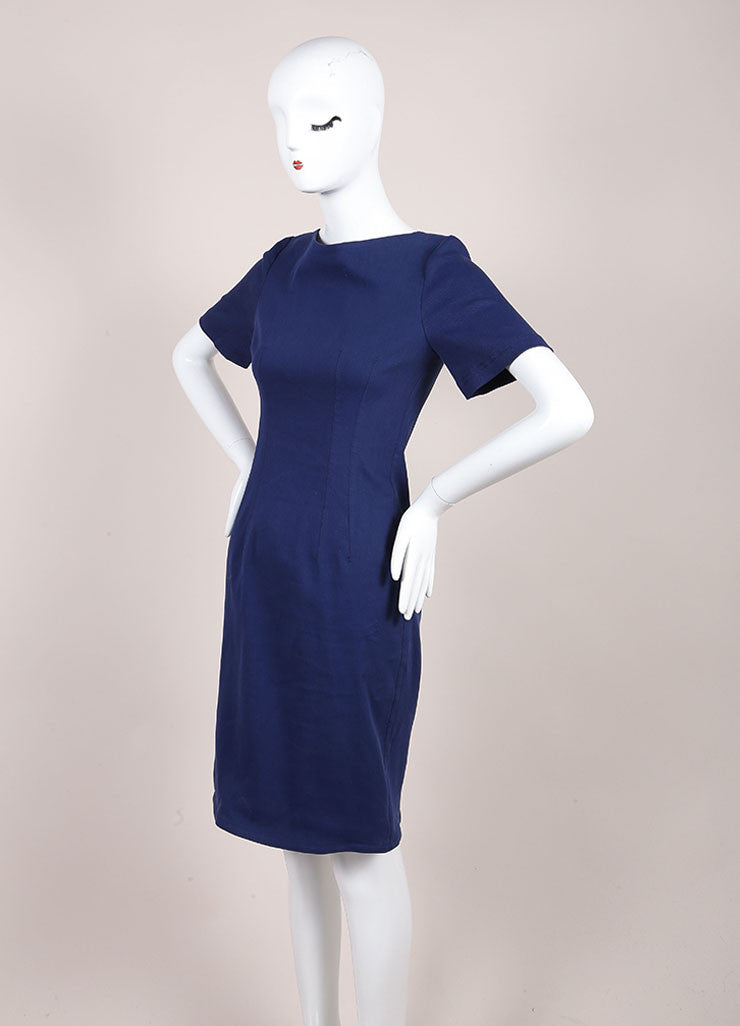 Lanvin Dark Blue Linen Woven Knit Short Sleeve Fitted Sheath Dress Sideview