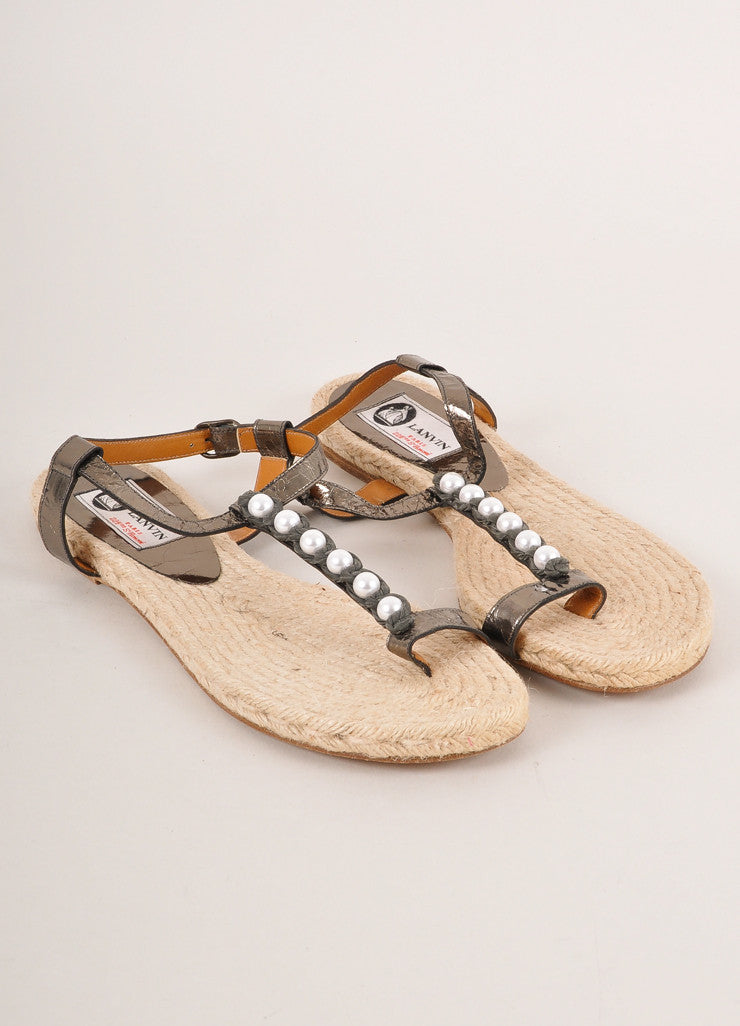 Lanvin Grey Metallic Leather Faux Pearl Trim Toe Strap Espadrille Sandals Frontview