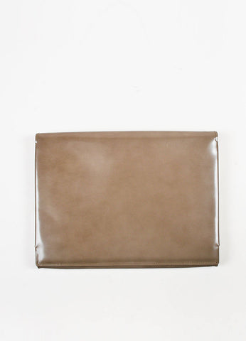 Lanvin Taupe Leather Fold Over Document Portfolio Clutch Backview