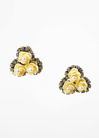 Gold Toned and Cream Lawrence Vrba Flower Faux Pearl Rhinestone Clip On Earrings Frontview