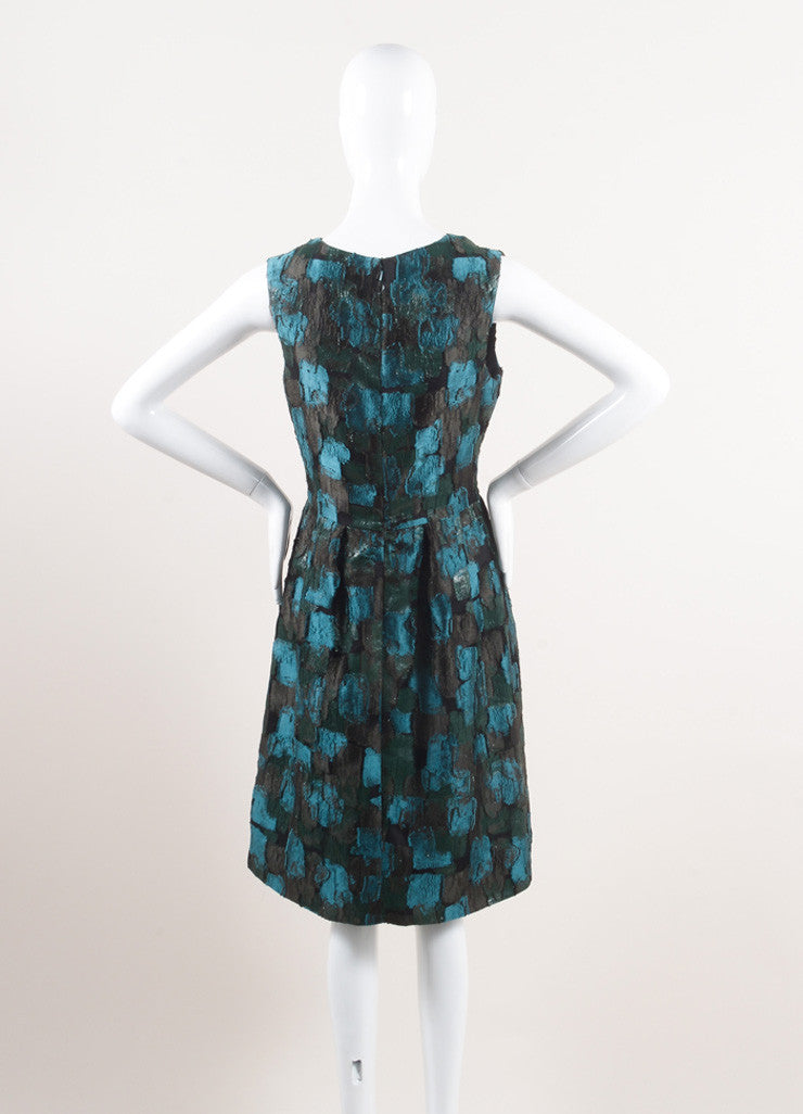 New With Tags Green and Black Silk Patchwork Sleeveless A-Line Dress