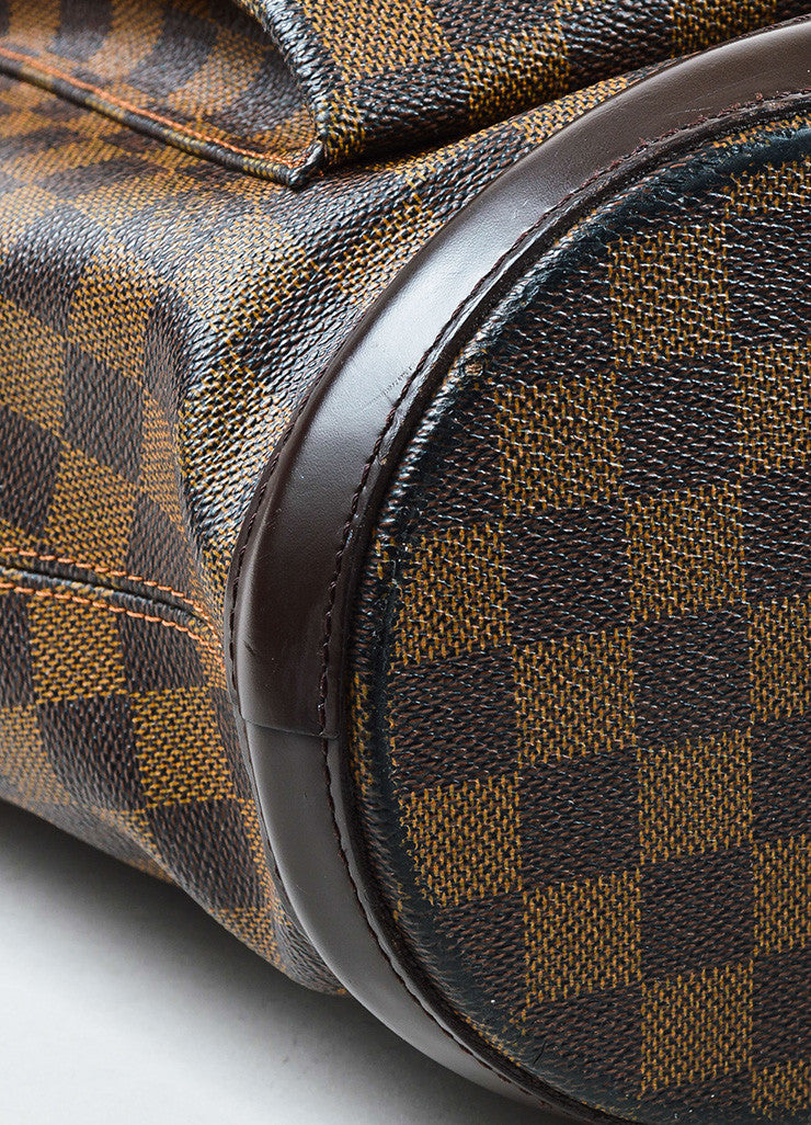 "Louis Vuitton Brown Coated Canvas Leather Trim Damier ""Manosque GM"" Tote Bag Detail"