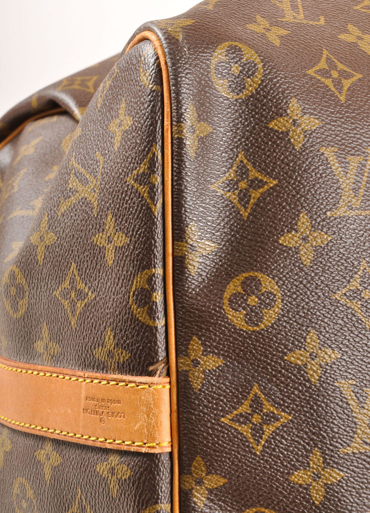 "Louis Vuitton Brown and Tan Coated Canvas and Leather Monogram ""Keepall 60"" Duffel Bag Detail"