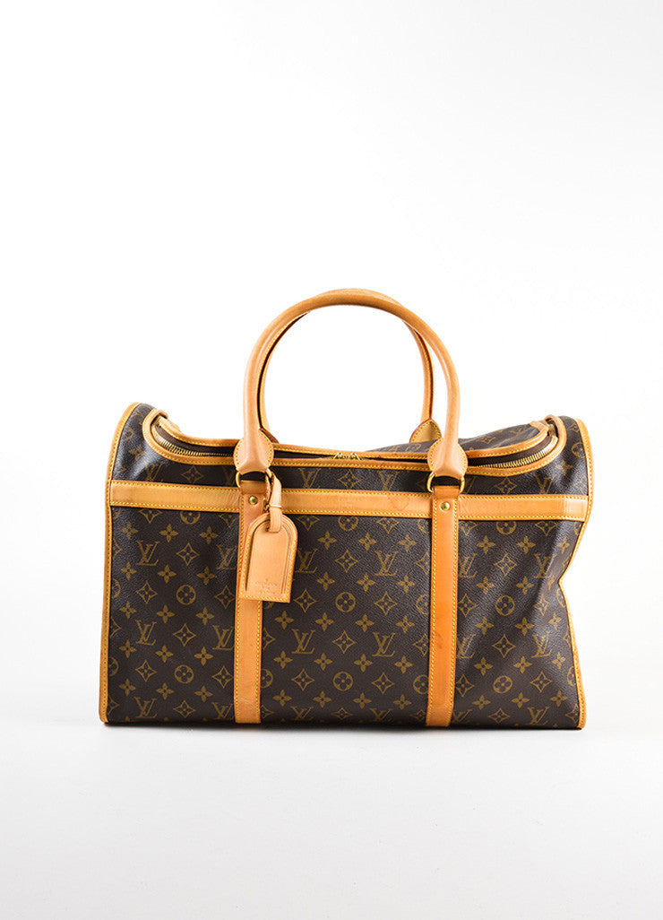 "Louis Vuitton Brown and Tan Coated Canvas and Leather Monogram Logo ""Dog Carrier 50"" Bag Frontview"