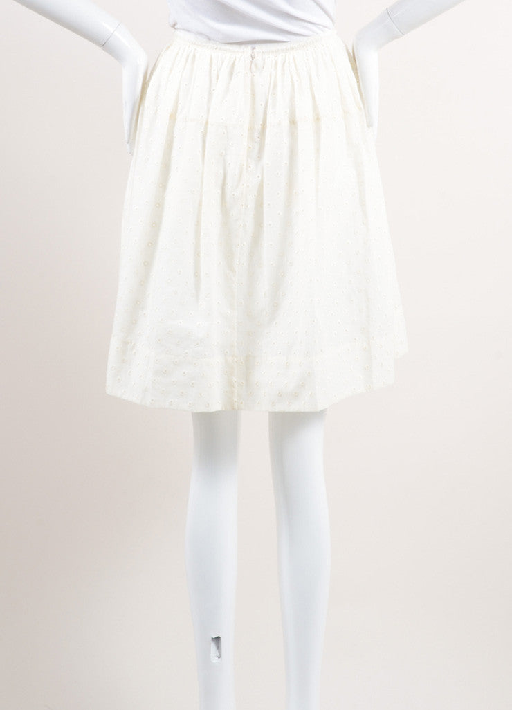 Marc Jacobs New With Tags Cream Cotton Eyelet Knee Length Yoked Skirt Backview