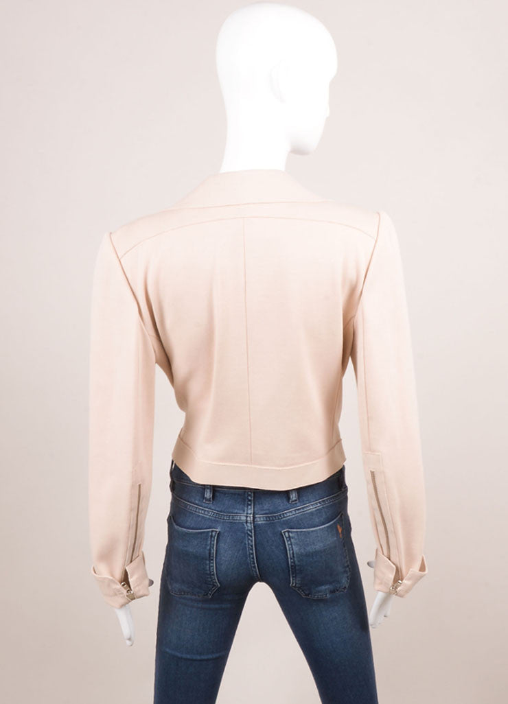 Marie Saint Pierre Blush Pink Knit Long Sleeve Moto Jacket Backview