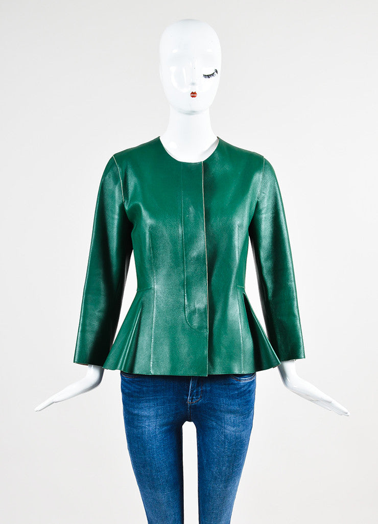 Marni Green Leather Peplum Jacket Frontview 2