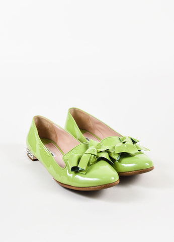 Miu Miu Light Green Patent Leather Bow Bejeweled Smoking Slippers Front
