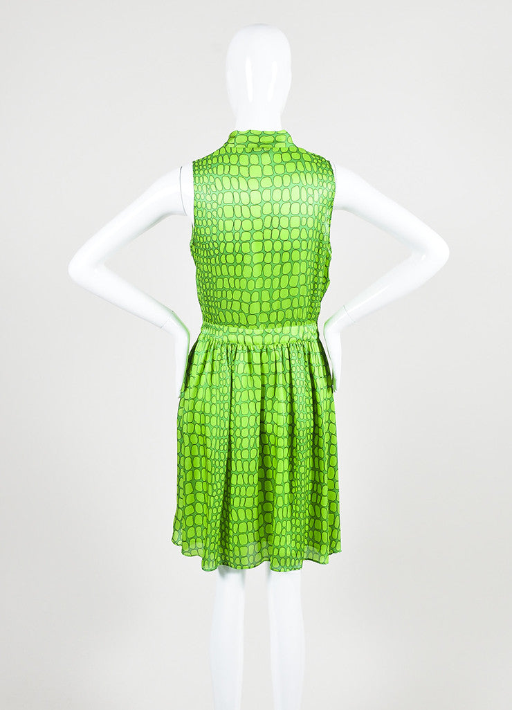 Green Moschino Cheap and Chic Silk Printed Neck Tie Sleeveless Dress Backview