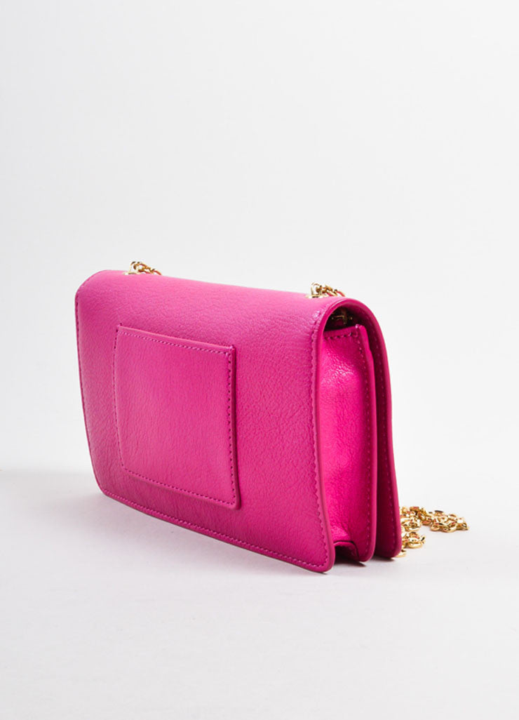 "Mulberry Pink Leather Chain Strap ""Bayswater"" Convertible Shoulder Bag Sideview"