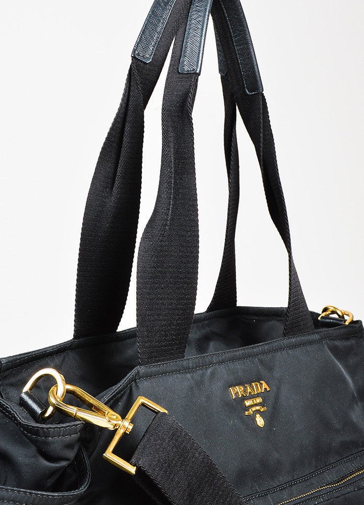 "Prada Black and Gold Toned Tessuto Nylon Zip Diaper ""Baby Bag"" Tote Bag Detail 2"