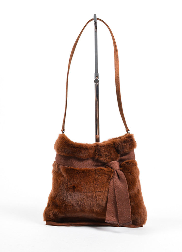 Prada Brown Fur Chiffon Mini Handbag Front