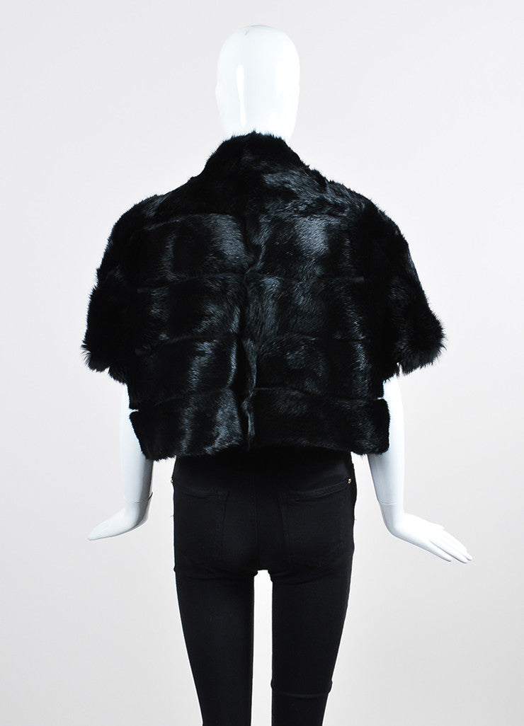 Black Red Valentino Rabbit Fur Cap Sleeve Cropped Jacket Backview