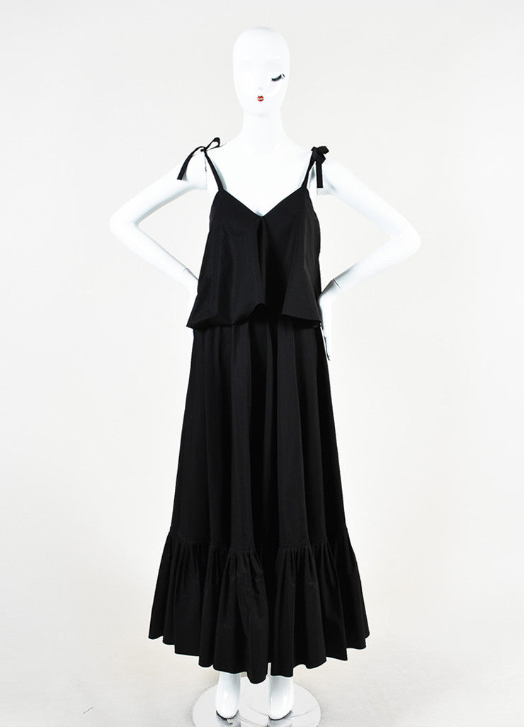 Salvatore Ferragamo Black Cotton Ruffled Sleeveless Maxi Dress Frontview