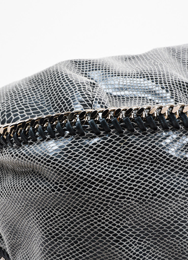 Stella McCartney Grey and Black Faux Snakeskin Print Hobo Shoulder Bag Detail
