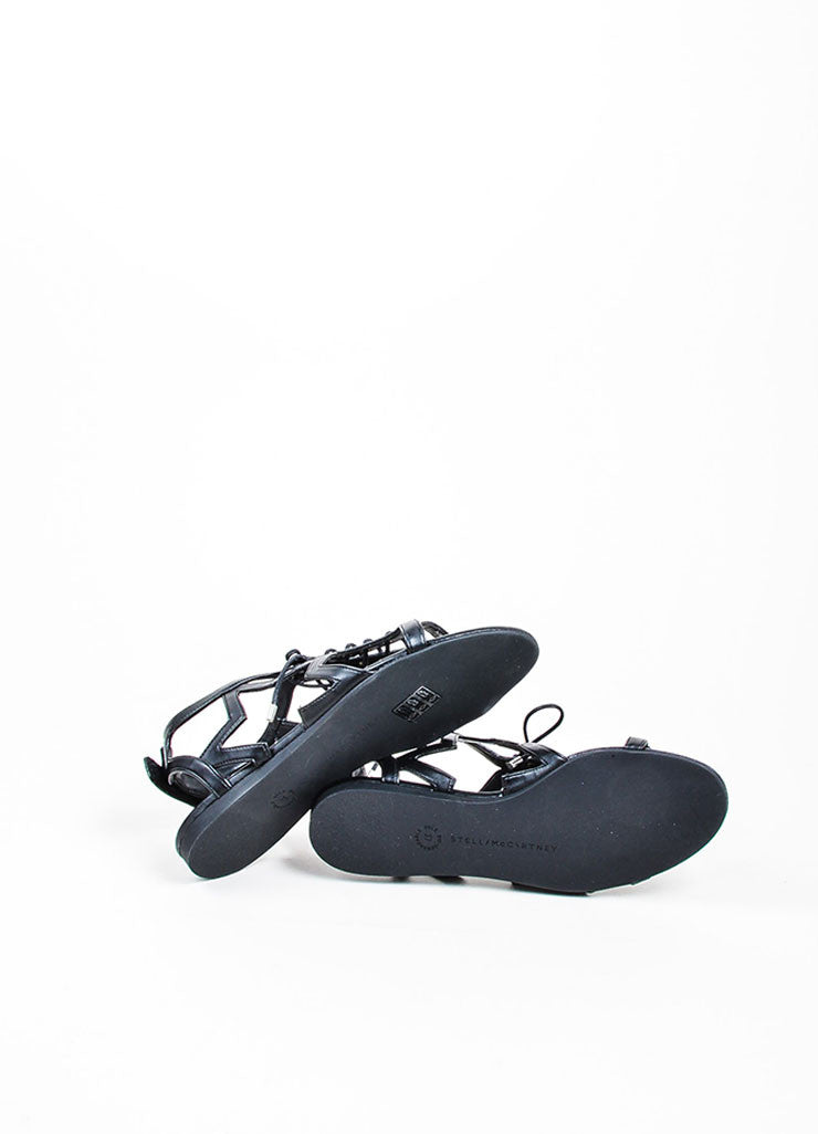 "Black Stella McCartney Faux Leather Star Cut Out ""Lucy"" Laced Sandals Outsoles"