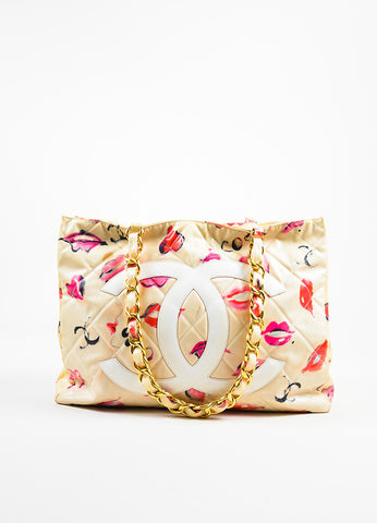 Chanel Cream Quilted Lip Print 'CC' Stitched Gold Hardware Chain Bag Front
