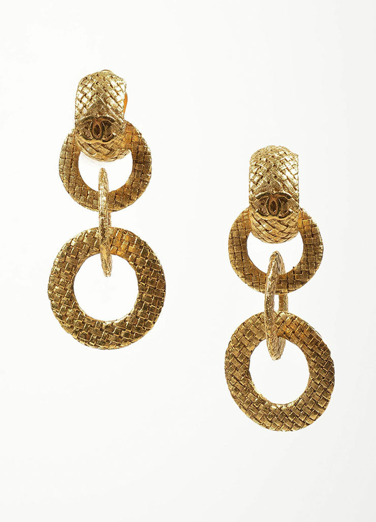 "Gold Toned Woven Chanel 'CC' ""Day to Night"" Convertible Clip On Earrings Frontview"