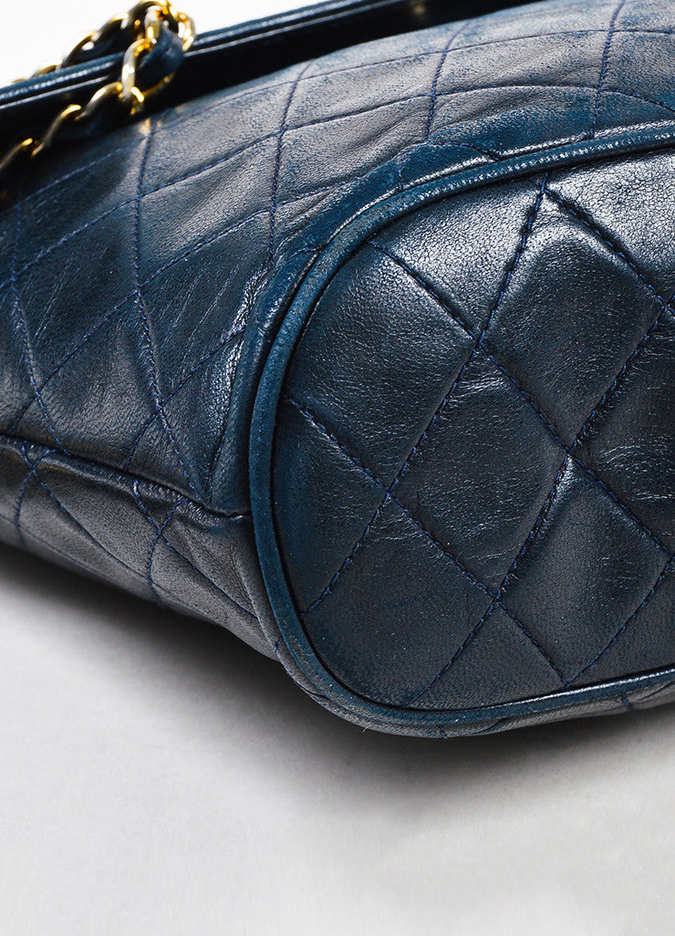 Chanel Navy Blue Leather 'CC' Flap Chain Strap Quilted Tassel Bag Detail