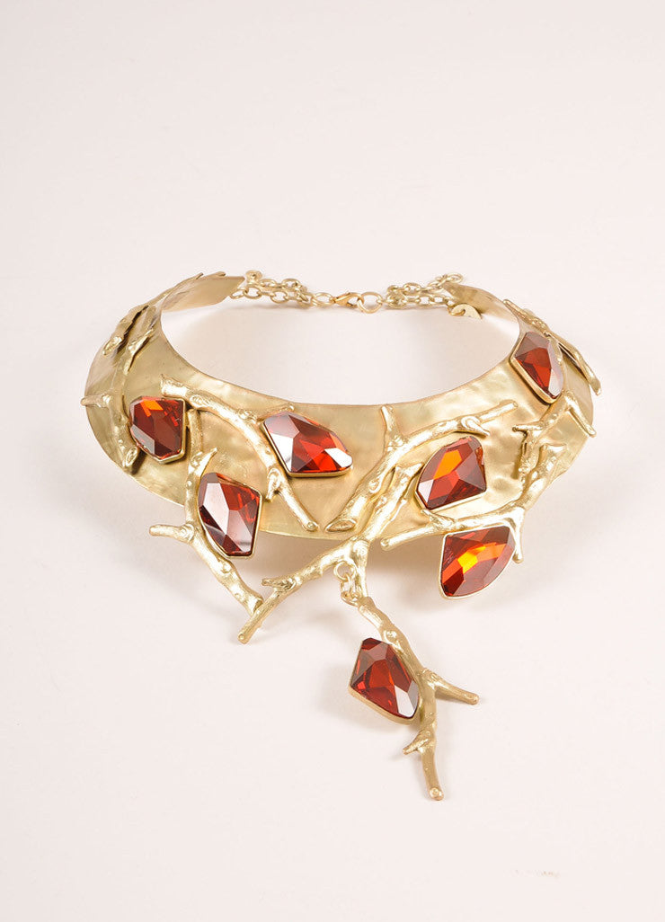 Ex NoVo Gold Toned and Red Chunky Crystal Gem Branch Detail Collar Necklace Sideview