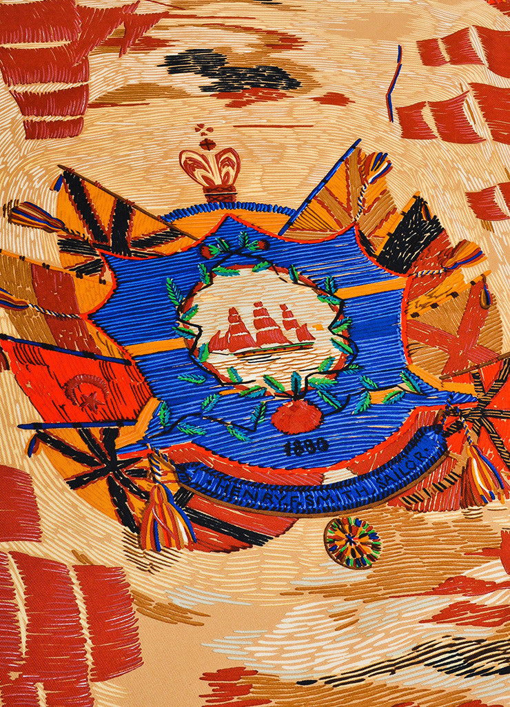 "Multicolor Hermes Sailboat Print ""Henry F. Smith Sailor"" Scarf Detail"