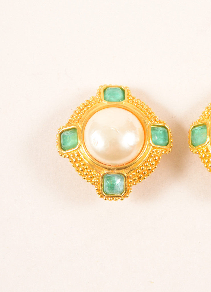 Gold Toned and Green Faux Pearl and Cabochon Earrings