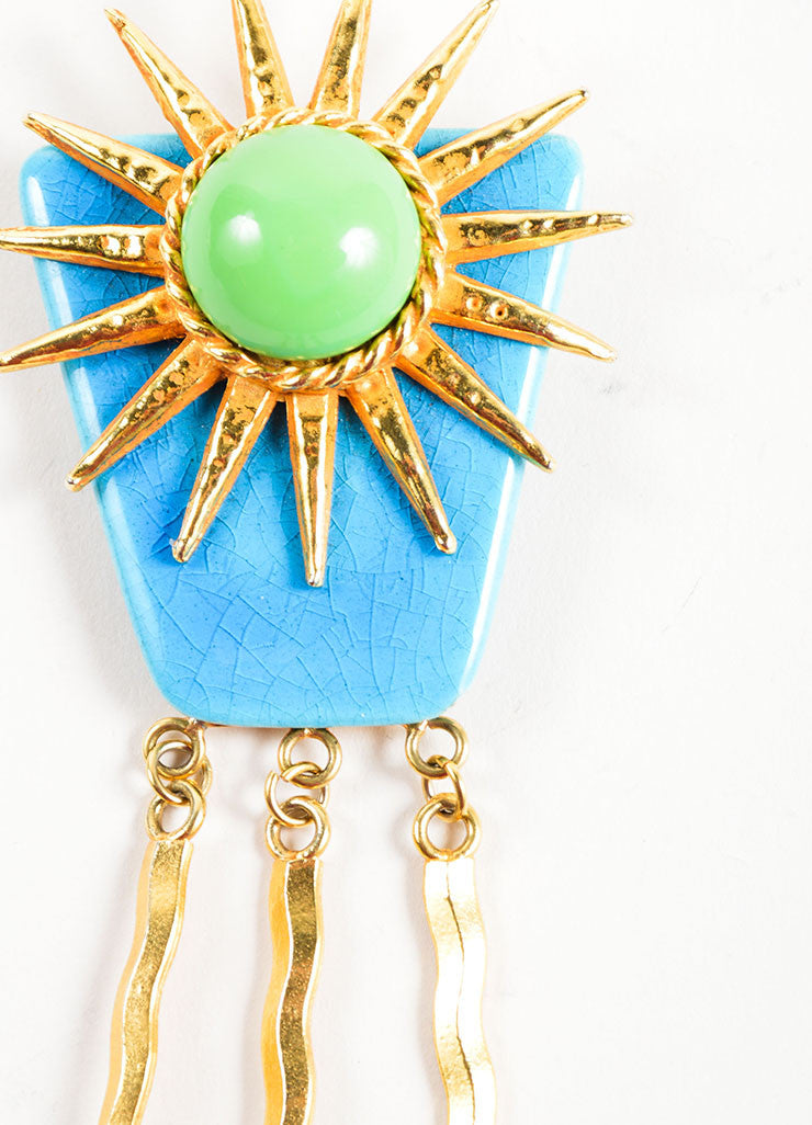 Philippe Ferrandis Multicolor Cabochon Bead Dangling Sun Pin Brooch Detail