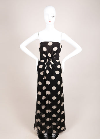 Valentino Black and Beige Chiffon Polka Dot Draped Strapless Gown Frontview