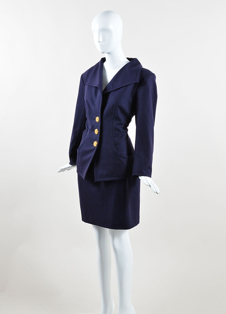 Yves Saint Laurent Navy Wool Jacket and Pencil Skirt Suit Sideview