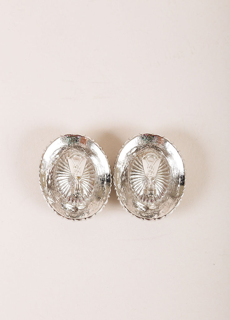 Yves Saint Laurent Silver Toned Chunky Rhinestone Hem Oval Earrings Backview