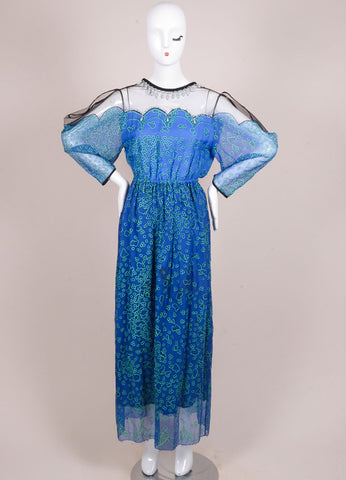 Zandra Rhodes Blue and Black Silk Graphic Print Mesh Embellished Dress Frontview