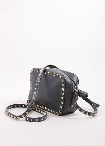 "Valentino Grey and Gold Toned Leather ""Rockstud"" Crossbody Bag Sideview"