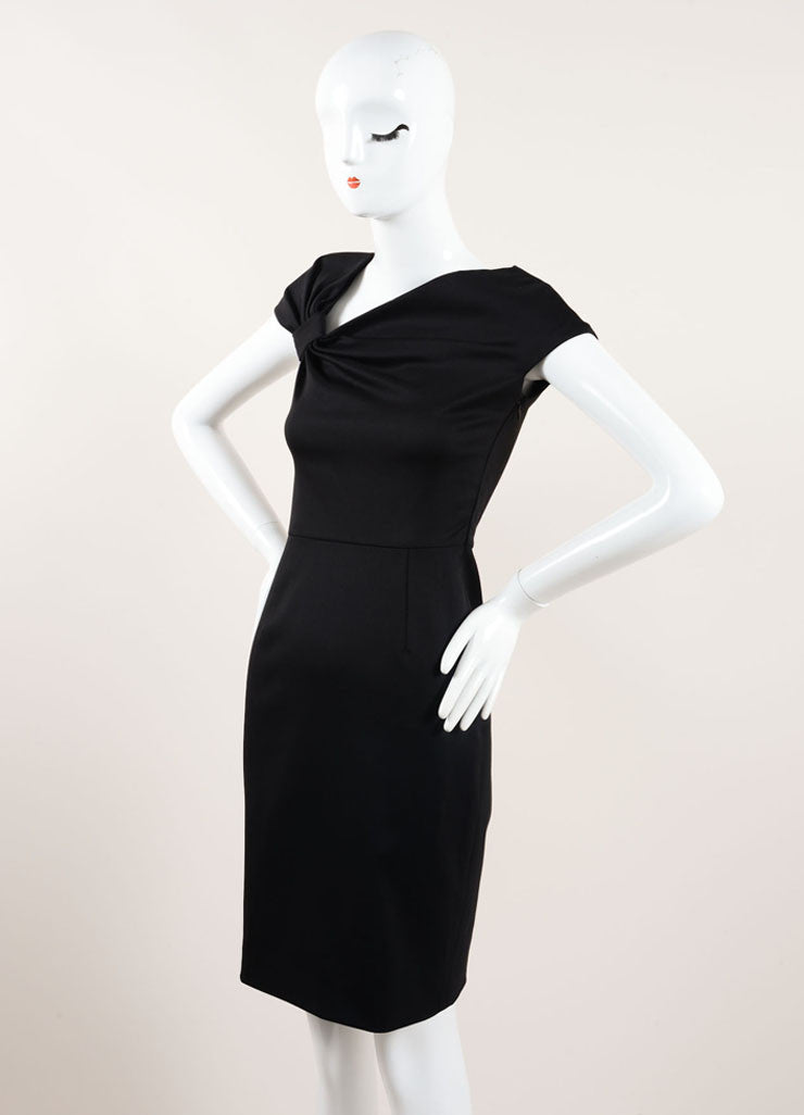 Valentino Black Ruched Bow Cap Shoulder Sheath Dress Sideview