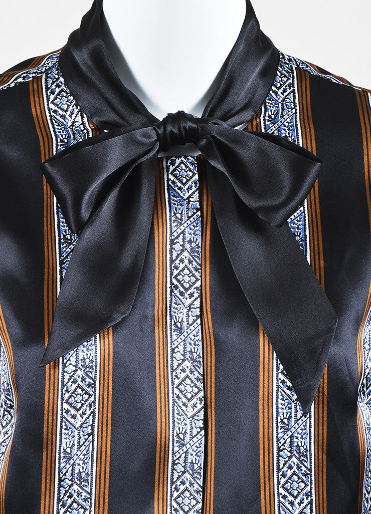 "Veronica Beard Black and Brown Silk Striped Tie Neck ""Tahoe"" Blouse Detail"
