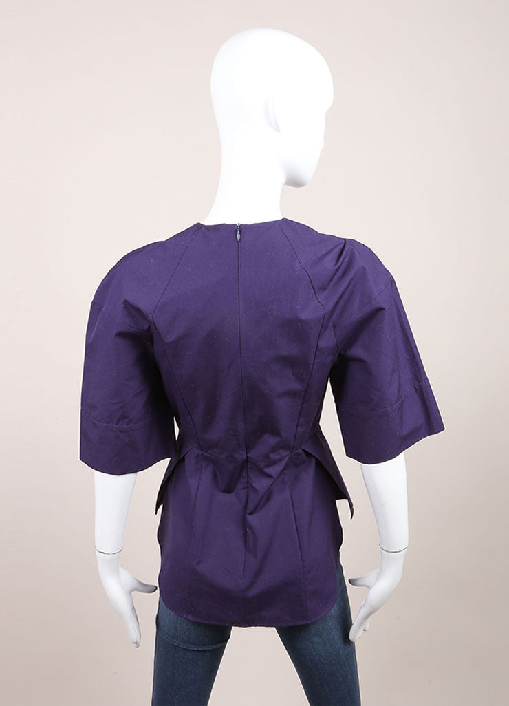 Victoria Beckham New With Tags Purple Cotton Pleated Wide Sleeve Top Backview