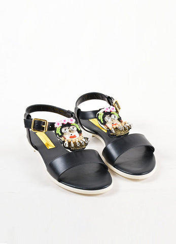 "Rupert Sanderson ""Frida"" Black Leather Strap Bead Flat Sandals Frontview"