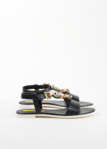 "Rupert Sanderson ""Frida"" Black Leather Strap Bead Flat Sandals Sideview"