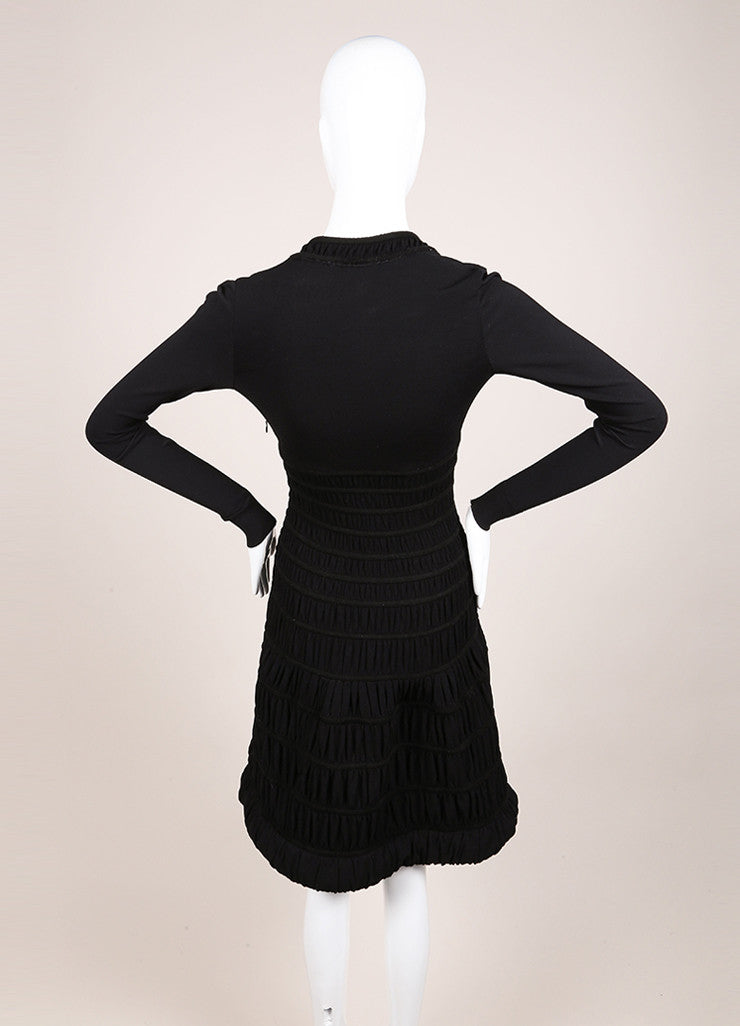 Alaia Black Textured Stretch Knit Ruched Paneled Long Sleeve Dress Backview