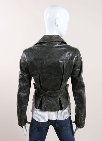 Alaia Dark Grey Distressed Crackle Leather Zip Moto Jacket Backview