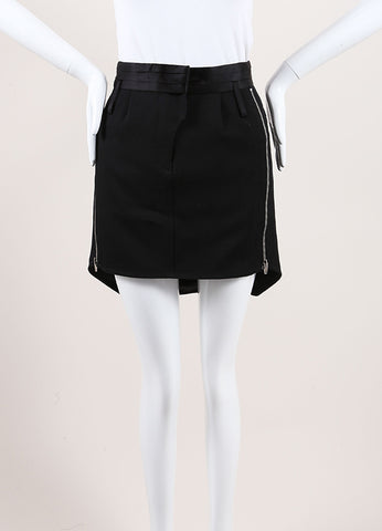Alexander Wang Black and Navy Wool and Nylon Inset Zippered High Low Mini Skirt Frontview