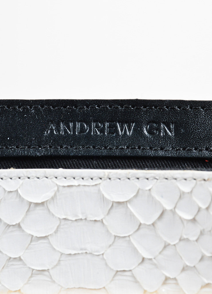 Andrew Gn White Python Skin Turn Lock Mini Brief Cross Body Bag Brand